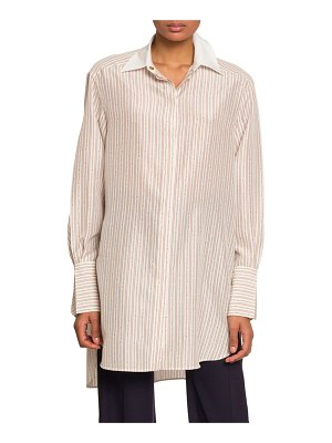 Chloe Chain-Striped Oversized Button Front Top