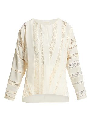 Chloe chantilly-lace silk-crepe blouse