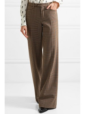 Chloe checked wool-blend wide-leg pants