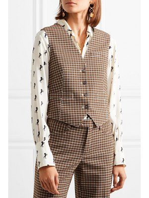 Chloe checked woven and satin-jacquard vest