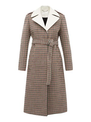 Chloe contrast lapel checked wool blend coat