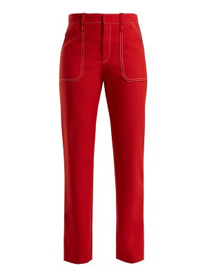 Chloe contrast stitch straight leg trousers