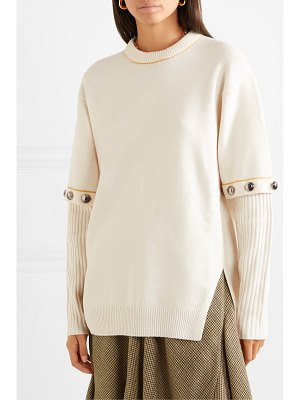 Chloe convertible button-embellished wool-blend sweater