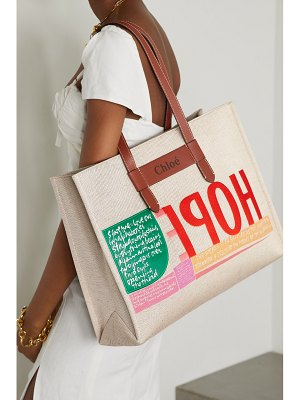 Chloe corita kent large leather-trimmed printed canvas tote