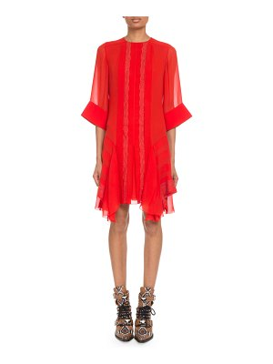 Chloe Crewneck 3/4-Sleeve Lace-Inset Shift Dress