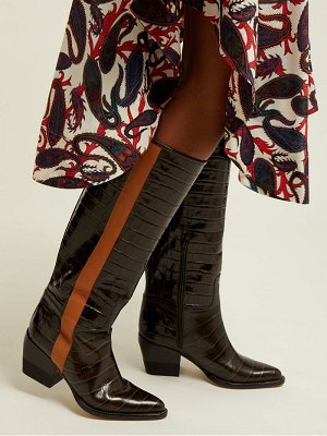 Chloe Crocodile Effect Leather Knee High Boots