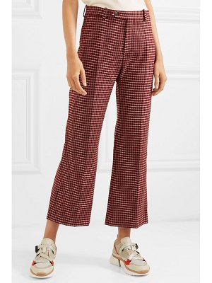 Chloe cropped checked wool-blend wide-leg pants