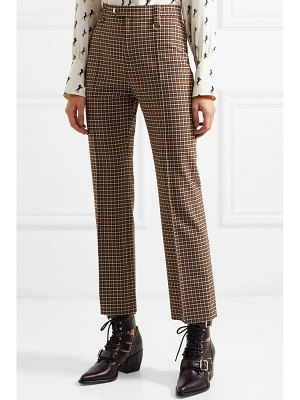 Chloe cropped checked woven straight-leg pants