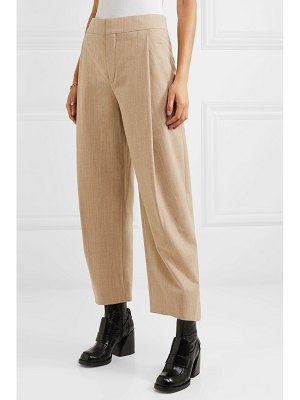 Chloe cropped pleated wool-blend tapered pants