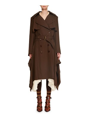 Chloe Double-Breasted Belted Drape-Side Wool Trench Coat