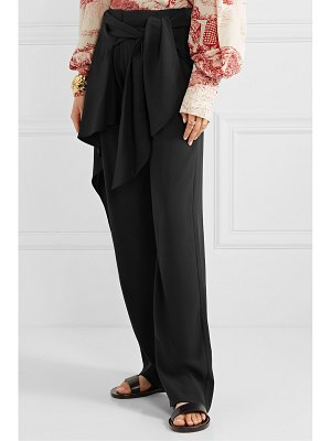 Chloe draped tie-front crepe wide-leg pants