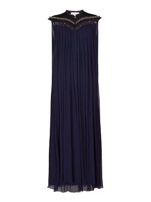 Chloe beaded neck plissé silk chiffon gown