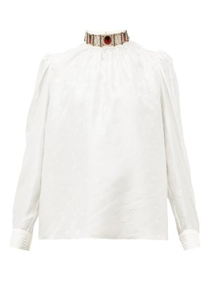 Chloe embellished high neck logo jacquard silk blouse