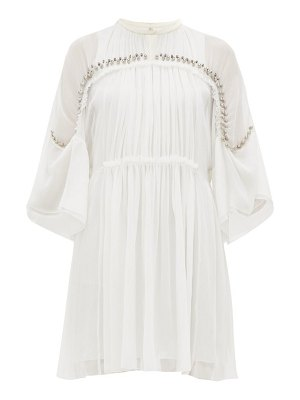 Chloe embellished plissé silk chiffon mini dress