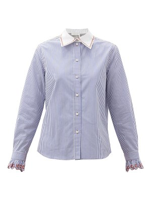 Chloe embroidered and striped cotton-poplin shirt
