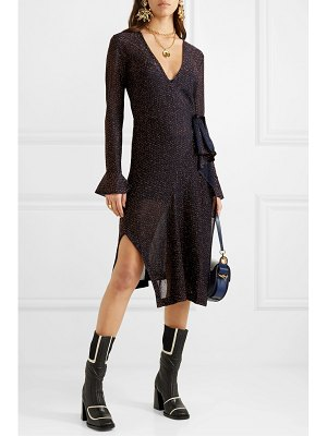 Chloe embroidered knitted wrap dress