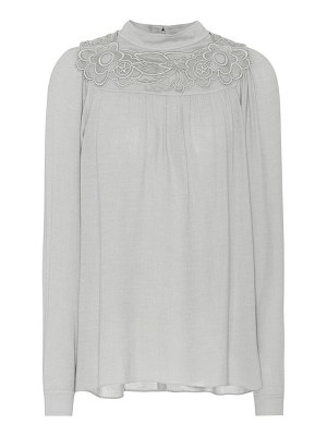 Chloe embroidered long-sleeved top