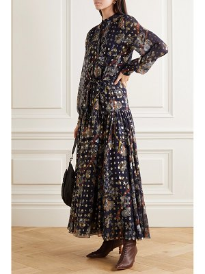 Chloe embroidered printed silk-georgette maxi dress