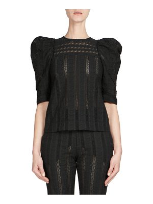 Chloe embroidered puff-sleeve top