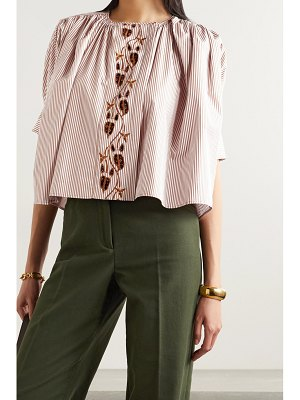 Chloe embroidered striped cotton-poplin and printed crepe blouse
