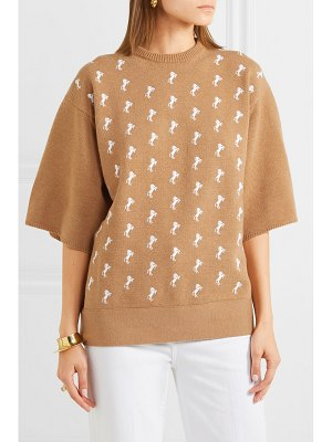 Chloe embroidered wool-blend sweater