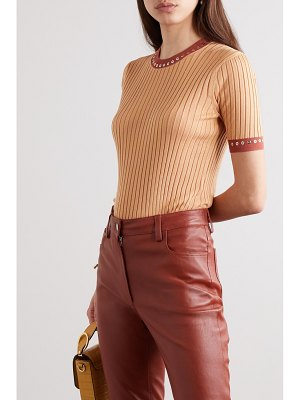 Chloe eyelet-embellished ribbed silk and cotton-blend top