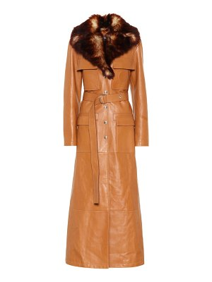 Chloe Faux fur-trimmed leather coat