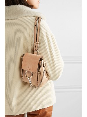Chloe faye mini textured-leather and suede backpack