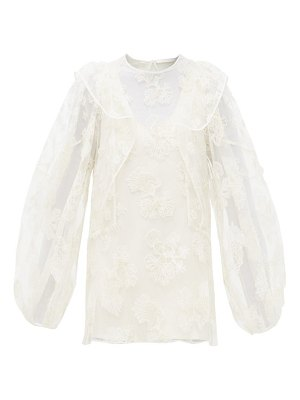 Chloe festive floral-embroidered tulle blouse