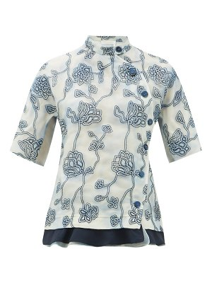Chloe floral-embroidered silk organza blouse