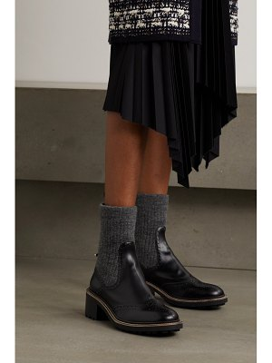 Chloe franne laser-cut wool and leather ankle boots