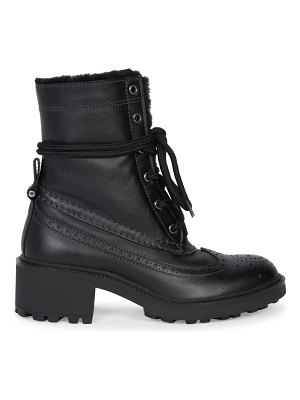 Chloe franne lug-sole shearling-lined leather loafer boots