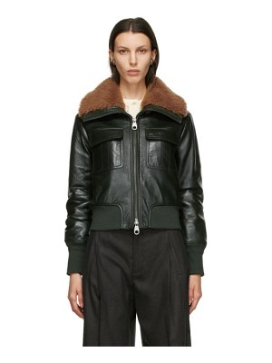 Chloe green lambskin shearling collar jacket