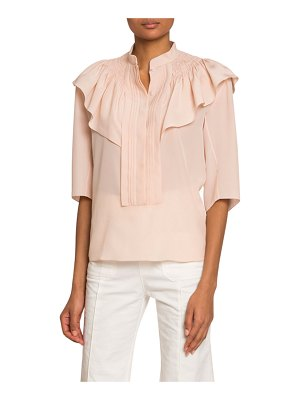 Chloe High-Neck Bibbed Crepe de Chine Blouse