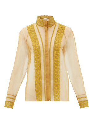 Chloe high-neck embroidered silk-organza blouse