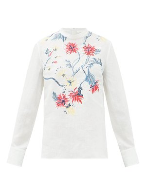 Chloe high-neck floral-embroidered linen blouse