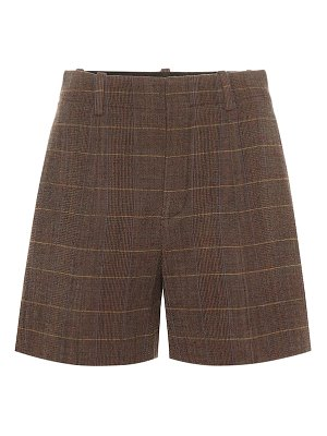 Chloe high-rise checked wool shorts