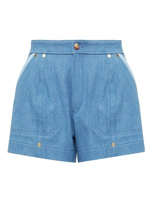 Chloe high-rise two-tone denim shorts