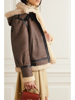 Chloe hooded leather-trimmed shearling jacket