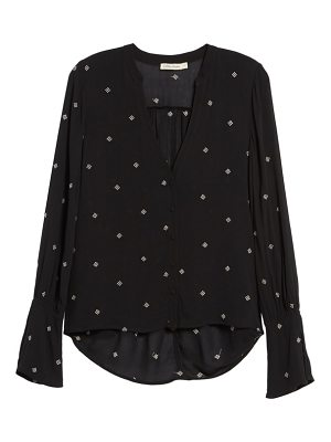 Chloe & Katie split neck button front shirt