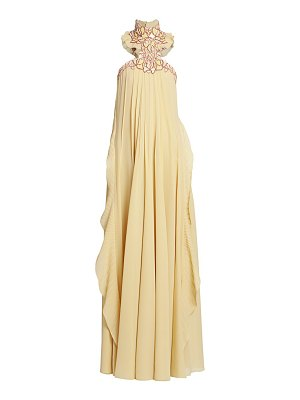 Chloe lace high-neck silk georgette gown