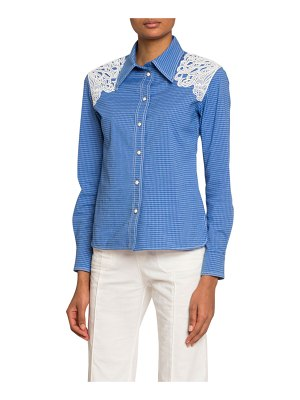 Chloe Lace-Shoulder Checked Button-Front Shirt