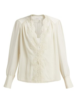 Chloe lace-trimmed silk-georgette blouse