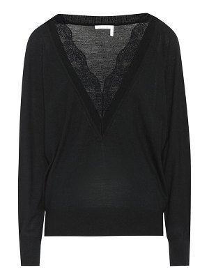 Chloe lace-trimmed wool and silk sweater