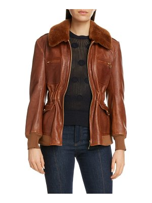 Chloe lambskin leather jacket with genuine shearling trim