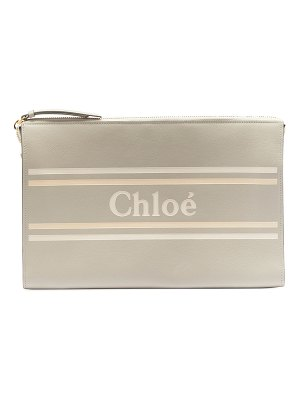 Chloe Vick Large Zip Logo Clutch Bag