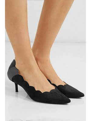 Chloe lauren scalloped snake-effect leather paneled suede pumps