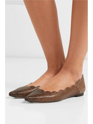 Chloe lauren scalloped snake-effect leather point-toe flats