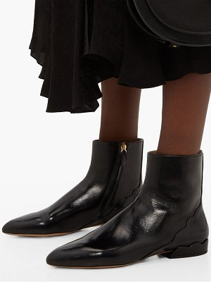 Chloe laurena scalloped leather ankle boots