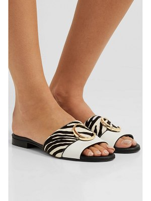 Chloe leather and zebra-print calf hair slides